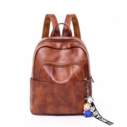 good qualitySolid Soft Pu Leather Backpacks For Students Cute Pig Doll  Hanging Simple Style School Bags All-match Backpack For Girls 16753aa6f66f2