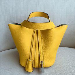 Hand Carrying Bag Australia - Elegant2019 Basket Bag Portable Baotou Layer Cowhide Hand Carry Woman Bucket Package