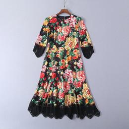 2019 Ladies Luxury Newest Estampado floral con borlas Lace O Neck Vestidos a media pierna Mujer 3/4 Vestidos Fashion Runway 190306