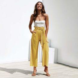 Wholesale black linen trousers women resale online – 2020 Linen Pants Women High Waisted Wide Leg Pants Women Summer Autumn Loose Trousers Female Black Yellow Long Pants with belt