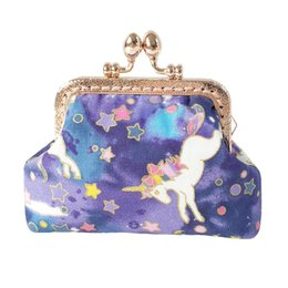 Cartoon Stamping Australia - Handmade Colorful unicorn coin purses hot stamping cotton dream unicorn mouth gold package change bags mini wallets
