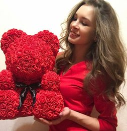 valentines day gift rose Australia - Wedding Decoration Rose Bear Foam Bear DIY Artificial Rose Flower Craft Foam Balls Valentines Day Gift Wedding Supplies