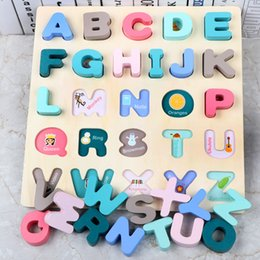 wooden alphabet puzzle Australia - Puzzle Digital Wooden Toys Early Learning Jigsaw Letter Alphabet Number Puzzle Preschool Educational Baby Toy for Children Gifts Y200317