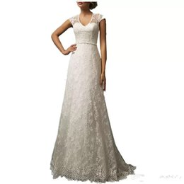 $enCountryForm.capitalKeyWord Australia - 2017 Backless Lace Wedding Dresses A Line Wedding Gowns Zipper New Arrival V Cut Neckline Fashionable Bridal Gowns
