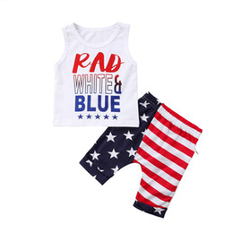 Girls Tassel Shirt Australia - Newest 4th of July Designer Toddler Baby Boys Suits RAD WHITE&BLUE Letters Printing Strips Shorts 2pieces Suits Child Girls Outfits for 0-3T