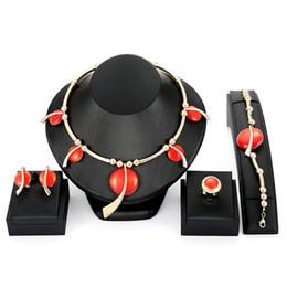 $enCountryForm.capitalKeyWord Australia - Gold Plated Alloy Wedding Jewelry Set 2018 New Arrival Luxury Bride Resin Circles Necklace Earrings Ring Bracelet 4-Piece Jewelry Set JS552