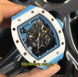 $enCountryForm.capitalKeyWord NZ - High version RM055 Skeleton Dial Nano-ceramic Composites Case Japan Miyota Automatic RM 055 Mens Watch Blue Rubber Strap Sports Watches