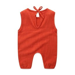 $enCountryForm.capitalKeyWord UK - INS Newest Toddler Baby Boys Girls Linen Cotton Rompers Blank Sleeveless Back Straps Summer Thin Newborn Jumpsuits Onesies for 0-2T