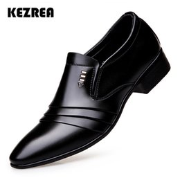 pointy black dress shoes men 2019 - Kezrea Luxury Brand Leather Formal Shose Fashion Men Business Dress Loafers Pointy Black Shoes Oxford Breathable Wedding