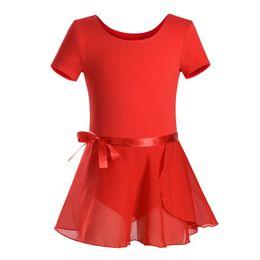 TuTus for Teens online shopping - Winter Girls Short Sleeve Ballet Leotards Kids Dance Gymnastics Cotton Dancewear for children Teen Unitard with TuTu Skirt Dress