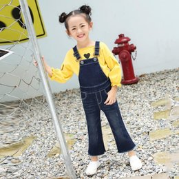 overall jumpsuits baby jeans Australia - Baby Girl Denim Jumpsuit Blue Boot Cut Jeans Spring Autumn New Brand Overalls Children Girl Trousers Loose Leggings Ws185