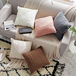 $enCountryForm.capitalKeyWord Australia - Double Cable Knit Cushion Cover Vintage Coffee Ivory Grey Pink Coffee Solid Pillow Case 45cm*45cm Soft 5 Colors For Choose Y19062803