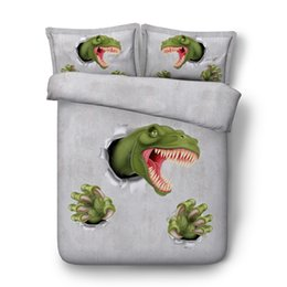 Chinese  Green Dinosaur Bedding 3pc 1 Light Gray Duvet Cover 2 Animal Pillow Shams Cartoon Bedspreads for Kids Boys Coverlet Set Teen Bed Covers manufacturers