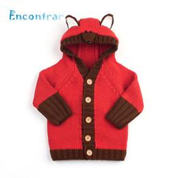 Baby Girl Jacket Ears Australia - Encontrar Girls Boys Fox Head Hooded Sweater Coat Newborn Warm Winter Clothes Baby Ear Decoration Cardigan Jacket 6M-24M,DC512