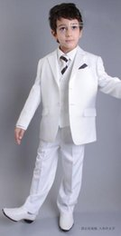 Formal Ties NZ - High Quality Two Buttons White Notch Lapel Boy's Formal Wear Occasion Kids Tuxedos Wedding Party Suits (Jacket+Pants+Vest+Tie) K63