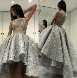sweet 16 dresses hi lo NZ - Luxury Short Prom Dresses 2019 Jewel Neck Zipper Back Pearls High Low Formal Dress Evening special occasion Cocktail Gowns sweet 16 dresses