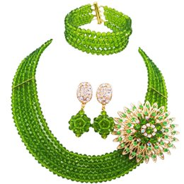 light green jewelry sets NZ - wholesale Classic Fashion Nigeria Wedding Africa Beads Jewelry Set Olive green Necklace Bracelet Bridal Jewelry Sets MH-20