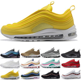 spring plastic 2019 - With Box 2019 wholesale shoes man woman og cushion running shoes triple white gold KPU Plastic Cheap Training Shoes disc