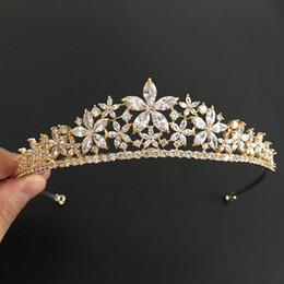 golden wedding tiaras Australia - Slbridal Golden Vintage Gold Clear Cubic Zircon Wedding Tiara Cz Bridal Queen Princess Pageant Royal Party Crown Women Jewelry J 190430