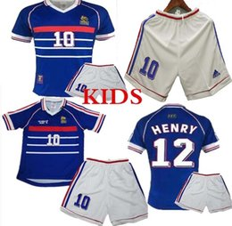 zidane jersey france NZ - kids kit 10 ZIDANE 1998 FRANCE RETRO VINTAGE ZIDANE HENRY MAILLOT DE FOOT Thailand Quality soccer jerseys uniforms Football Jerseys shirt