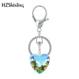 $enCountryForm.capitalKeyWord UK - 2019 New The Most Beautiful CN Scenes Keychain Glass Heart Shaped Amazing Sea River View Jewelry