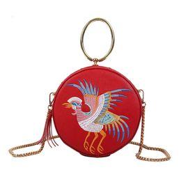 $enCountryForm.capitalKeyWord Australia - Handbags Crossbody bag Women Retro Chinese Style Leather Fly Bird Bag Crane Circular Crossbody embroidery Round