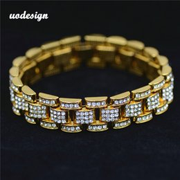 mens gold chain circle NZ - Hip hop Jewelry for Men Gold Silver Hiphop Mens Rhinestone Chain Bracelet Tank Bangles For boys Punk Jewelry