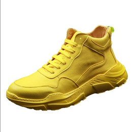 yellow snow boots men NZ - Newest Luxury Designer white yellow Men Shoes Fashion Suede With Spikes Loafers Designer Casual Dress Sneakers Soles Boots H406