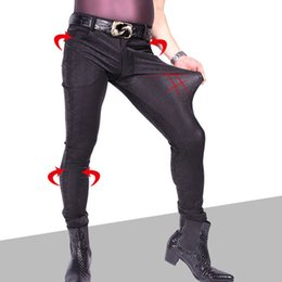 Discount plus size black leather tights - Sexy Men Plus Size 3D Print Punk Elastic Tight Trousers PU Faux Leather Shiny Pencil Pants Glossy Stage Pencil Pants Jea