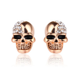 $enCountryForm.capitalKeyWord NZ - Hot style retro smooth skull full of diamond stud earrings for both men and women Halloween decorations skull stud earrings gift