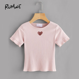 $enCountryForm.capitalKeyWord Australia - Romwe Cute Heart Cut Pink Ribbed Tee Women Short Sleeve Sweet Summer Tops Fashion Brief Hollow Out Basic T-shirt Q190524