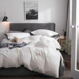 $enCountryForm.capitalKeyWord Australia - Solid washed cotton duvet cover set summer comforter cover bedsheet Pillowcase white bedding sets Twin Queen King size Bedlinen