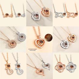 $enCountryForm.capitalKeyWord Australia - Rose Gold&Silver Pendant Necklaces 100 languages I love you Projection Pendant Necklace Romantic Love Memory Wedding Necklace