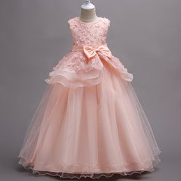ac7110c3e00 Flower Girl Dress Formal 4-15 Years Floral Baby Girls Dresses Vestidos 5  Colors Wedding Party Children Clothes Birthday Clothing