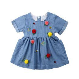 $enCountryForm.capitalKeyWord UK - wholesale Toddler Kids Baby Girls Dress Pocket Colorful Birthday Party Dress spring casual dress