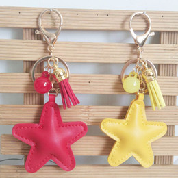 $enCountryForm.capitalKeyWord Australia - Creative PU Leather Tassel Key Ring Cute Bag Pendant Leather Five-pointed Star Car Key Chains Fashion Charm Keychain