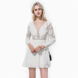 China Summer sexy V neck halter skirt with crocheted openwork lace chiffon long lantern sleeve dress free shipping cheap openwork crochet dress suppliers