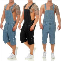 7cc267926875 Fashion Men s Black Ripped Jeans Jumpsuits Hi Street Distressed Denim Bib  Overalls For Man short Suspender Pants