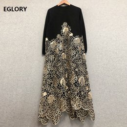 $enCountryForm.capitalKeyWord NZ - Top Quality New 2018 Autumn Winter Evening Party Vintage Dress Women Mink Hair Knitting Patchwork Long Sleeve Embroidery Dress