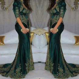 Yellow v neck prom dress online shopping - Vintage Dark Green Evening Dresses Embroidery Beaded Sequin Indian Style Half Sleeve Prom Gowns High Neck Mermaid Party Dress