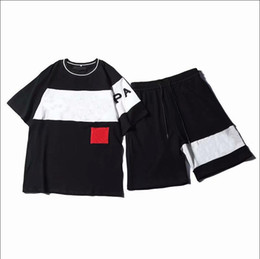 Wholesale Mens Fashion Tracksuit with Letters Embroidery Women Summer Sportswear Short Sleeves Pullover Jogger Pants Suits O-Neck Sportsuit
