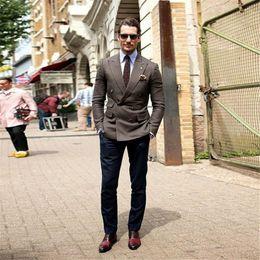 Custom Tweed Suit Australia - 2019 Latest Designs Brown Men Suit For Business Formal Tweed Custom Made Blazer Double Breasted Peaked Lapel Tuxedo 2 Piece(Jacket+Pants)
