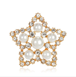 Discount cheap celtic dress Cheap Beautiful Pearl Rhinestone Silver Plated Brooches for Women Brooch Pins Jewelry Hijab Pins Women Dress Accessories