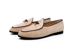 Men Shoes Australia - Fashion Bow knot Loafers With Bow Suede Leather Men Dress Shoes Moccasins Man Flat Dress Shoes Slip On Smoking Casual Shoes