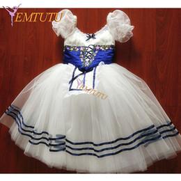 professional ballet tutu blue 2019 - Coppelia Professional Ballet Long Tutu Dress Blue Puff Sleeve Ballet Stage Costume Nutcracker Classical Tutu Skirt Custo