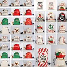 Discount sacking bags wholesale - 2020 Christmas bags Large Canvas Monogrammable Santa Claus Drawstring Bag With Reindeers Christmas Gifts Sack Bags Chris