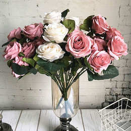 $enCountryForm.capitalKeyWord Australia - 10 Heads Big Artificial Rose Flower Bouquet Flores Artificiales Wedding Home Fall Decorations Fake Flowers Fleur Artificielle