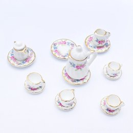toy tool set wholesale Canada - 15pcs 112 Miniature Porcelain Tea Cup Set Chintz Flower Kitchen Tableware Dollhouse Furniture Toys for Kids Gift 19 Tools & Workshop Preten