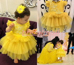 LittLe fLower girL dress purpLe online shopping - Bright Yellow Appliqued Tulle Girls Pageant Dresses Princess Tiered Layers Flower Girls Dress Little Kids Birthday Wedding Party Gowns