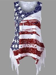 Discount fringed shirts - European and American summer new fashion women's flag printed sleeveless halter vest fringed hem long shirt female